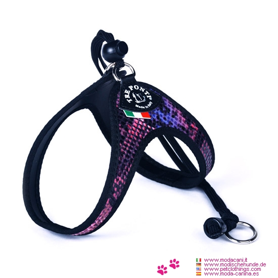 Harness for Small Dog in Purple Python Print with Lace