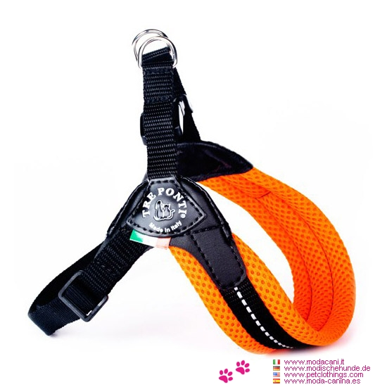 Soft Adjustable Harness for Small Dogs in Fluo Orange