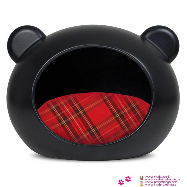 Cama Negra de Lujo para Perro 6-12Kg con Cojín Tartan Rojo