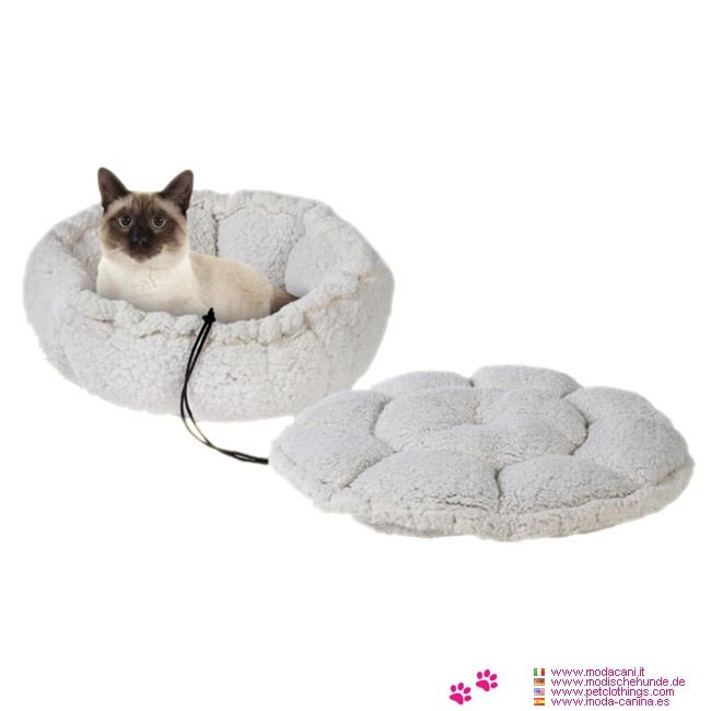 Cuccia Fiore 2in1 Bianca per Gatti, Cani Piccoli e Chihuahua