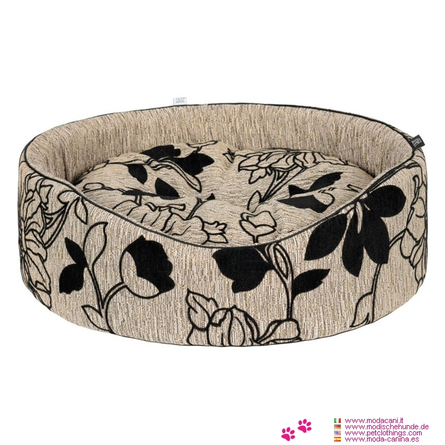Panier Oval Petit Chien en Beige avec Motifs Floraux
