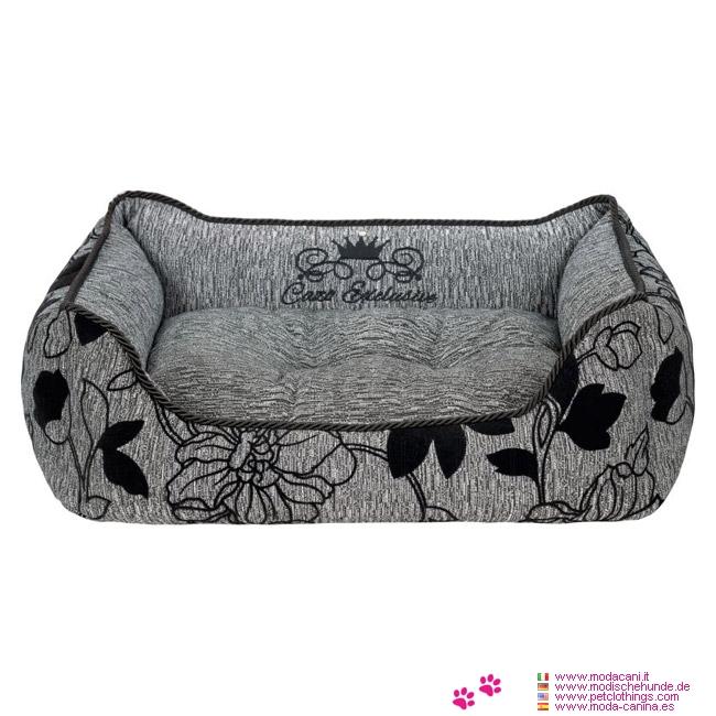 Lit pour chien élégant en gris avec des motifs floraux