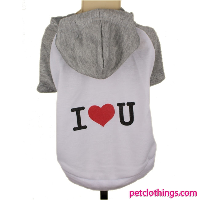 T-shirt à Capuche I LOVE YOU Blanc et Gris