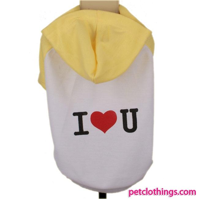 Camisa Blanca y Amarillo I LOVE YOU con capucha