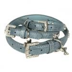 Collar Azul de Cuero estampado Cocodrilo con Hueso