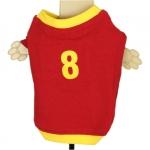 Camiseta roja y amarilla de fútbol para los perros