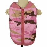 Pink Camouflage Quilted Jacket for Dogs