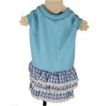 Blue Dog Dress with Lace Skirt