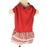 Red Dog Dress with Lace Skirt