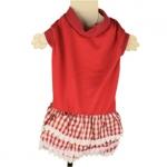 Vestido Rojo para mascota con falda de encaje a cuadros