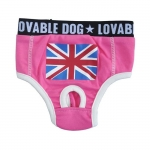 Pink pants for dogs with British Flag