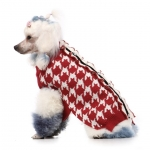 Houndstooth red and white sweater for dogs
