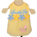 Yellow and Blue Dog Dress with flowers