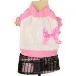 Vestito Invernale Rosa e Bianco per Cagnoline con gonna
