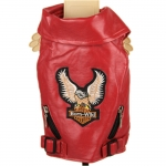 Faux Leather Rider Jacket for Dogs in Red