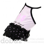 Angel Dress for Small Dogs in Pink and Black with Bow