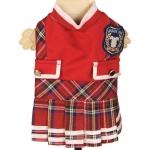Vestito College Rosso per cani con gonna Scozzese