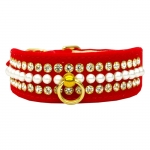Dog Collar in Red Velvet with Pearls and Rhinestones
