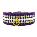 Dog Collar in Purple Velvet with Pearls and Rhinestones