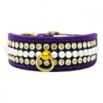 Collar para Perro de terciopelo Púrpura con Perlas y Strass
