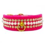 Collar para Perro de terciopelo Rosa con Perlas y Strass