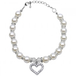 White Necklace with Pearls and Rhinestones for Dog