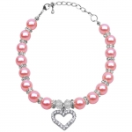 Pink Necklace with Pearls and Rhinestones for Dog