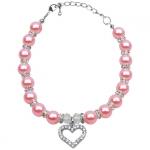 Collier avec Perles Roses Dragée et Strass pour Chien