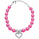 Fuchsia Necklace with Pearls and Rhinestones for Dog