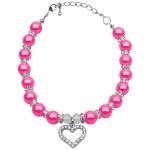 Collier avec Perles Roses Brillant et Strass pour Chien