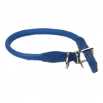 Rolled Leather Collar for Dogs in Blue