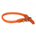 Rolled Leather Collar for Dogs in Orange