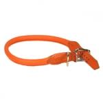 Collar Redondo Naranja de Piel para Perro