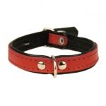 Collar de Cuero para Perros en Rojo y Negro