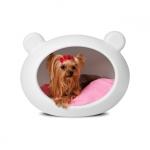 Cuccia Bianca Rigida per Cani Piccoli con Cuscino Rosa