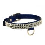 Collar Brillante Azul de Cuero con Rhinestones