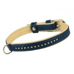 Collare Brillante Blu in Pelle per Cane Piccolo