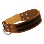 Collar Perros Grandes en Cuero Marrón con Cordones Trenzados