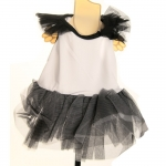 Black and White Dress with Tulle Skirt for Small Dog