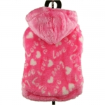 Fleece Sweatshirt for Small Dogs Love in Pink