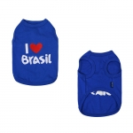 Undershirt for Small Dogs I LOVE BRASIL in Blue