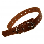 Adjustable Genuine Leather Collar for Medium Size Dogs in Brown
