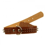 Dog Collar in Brown Leather with 2 rows of Spikes