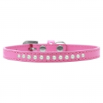 Hot Pink Collar in Faux Leather with Pearls for Small Dogs