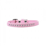 Light Pink Collar for Small Dog in Faux Leather with Rhinestones