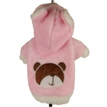 Fleece Coat for Dogs with Bear in Pink