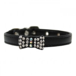 Black Collar for Small Dog with Bow with Strass