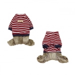 Overall for Small Dog in Red Cotton with Velvet Trousers