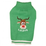 Green Sweater for Small Dogs with Reindeer