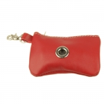 Dog Waste Bag Dispenser in Red Calfskin